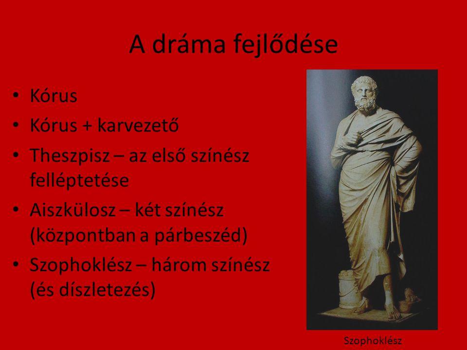 A dráma fejlődése Kórus Kórus + karvezető Theszpisz – az első színész felléptetése Aiszkülosz – két színész (központban a párbeszéd) Szophoklész – három színész (és díszletezés) Szophoklész