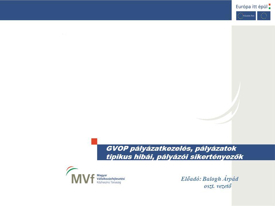 GVOP pályázatkezelés, pályázatok tipikus hibái, pályázói sikertényezők Előadó: Balogh Árpád oszt. vezető