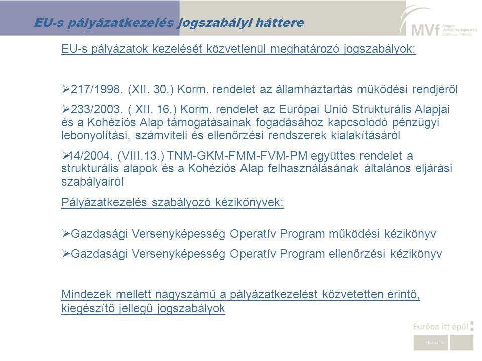 EU-s pályázatkezelés jogszabályi háttere EU-s pályázatok kezelését közvetlenül meghatározó jogszabályok:  217/1998. (XII. 30.) Korm. rendelet az álla