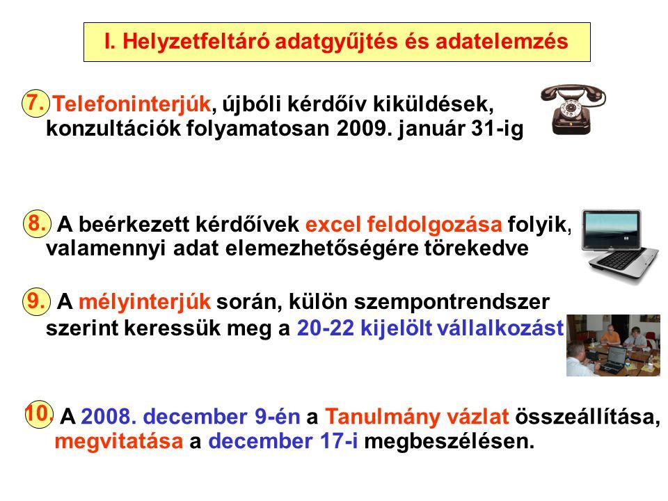 Telefoninterjúk, újbóli kérdőív kiküldések, konzultációk folyamatosan 2009. január 31-ig A beérkezett kérdőívek excel feldolgozása folyik, valamennyi