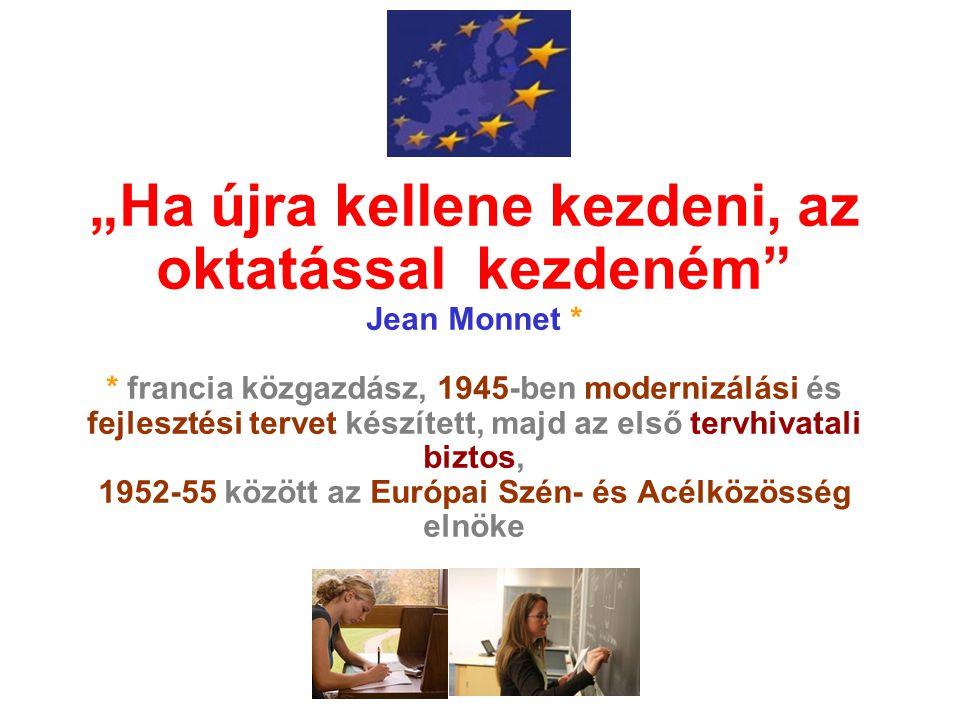 """""""Ha újra kellene kezdeni, az oktatással kezdeném"""" Jean Monnet * * francia közgazdász, 1945-ben modernizálási és fejlesztési tervet készített, majd az"""