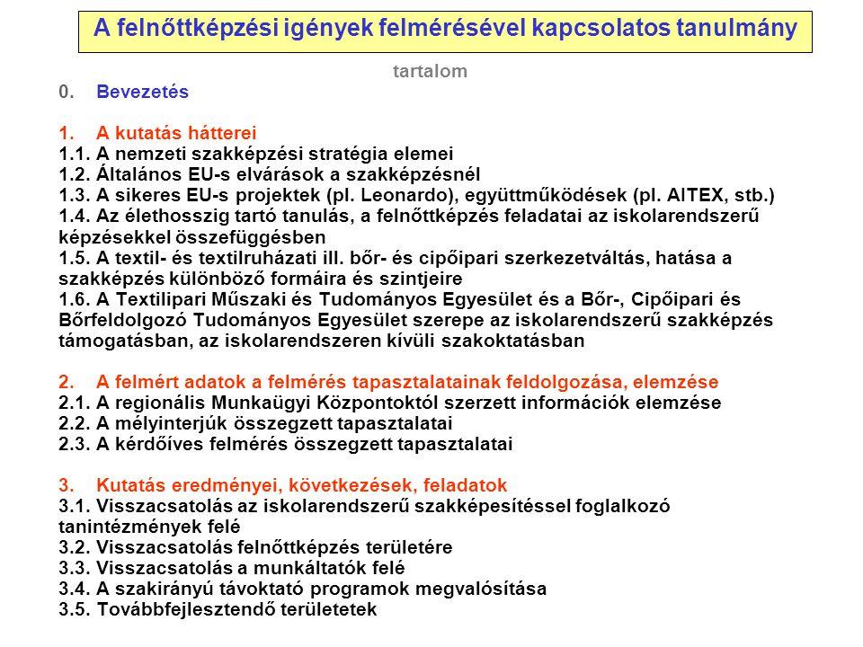 tartalom 0. Bevezetés 1. A kutatás hátterei 1.1. A nemzeti szakképzési stratégia elemei 1.2. Általános EU-s elvárások a szakképzésnél 1.3. A sikeres E