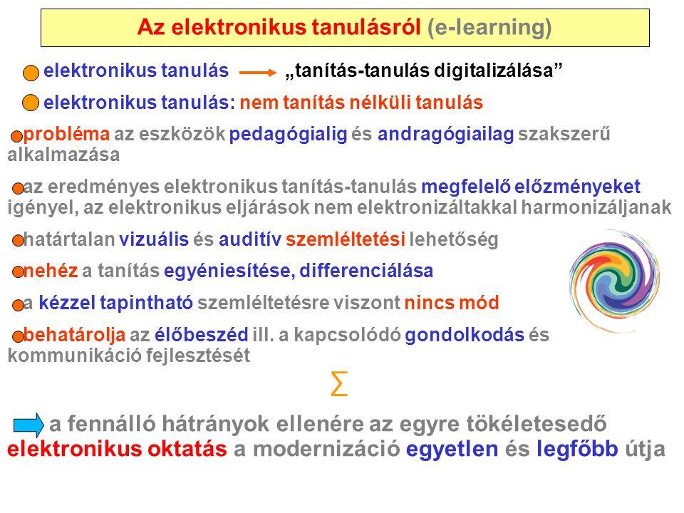 """Az elektronikus tanulásról (e-learning) elektronikus tanulás """"tanítás-tanulás digitalizálása"""" elektronikus tanulás: nem tanítás nélküli tanulás problé"""