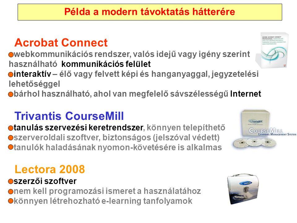Acrobat Connect - webkommunikációs rendszer, valós idejű vagy igény szerint használható kommunikációs felület - interaktív – élő vagy felvett képi és
