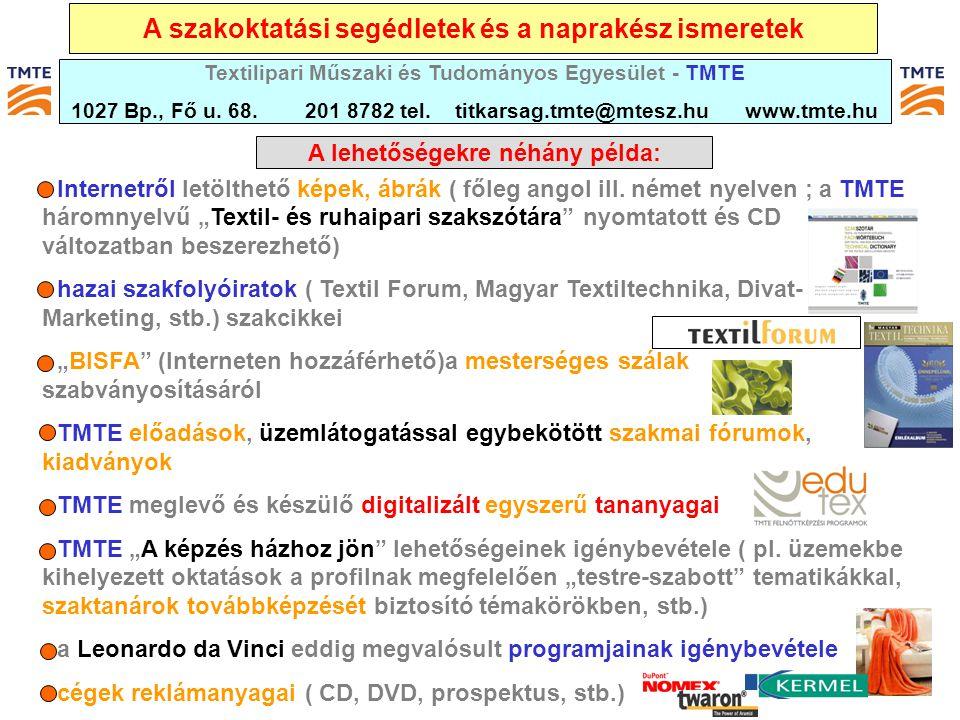 """A szakoktatási segédletek és a naprakész ismeretek - Internetről letölthető képek, ábrák ( főleg angol ill. német nyelven ; a TMTE háromnyelvű """"Textil"""