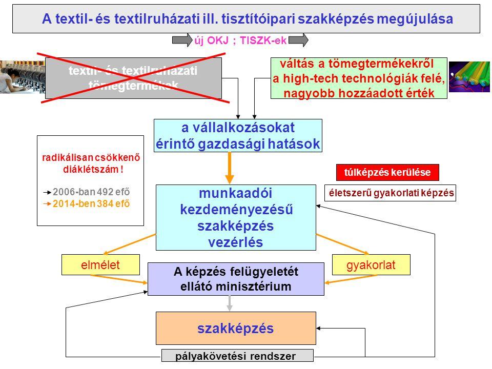 A szakoktatási segédletek és a naprakész ismeretek a rendelkezésre álló textil- és textiltisztító tankönyvek között kevés az új-, vagy újszerű kiadvány ( az elmúlt évtized/ek innovációs eredményeit nem vagy alig tartalmazzák); a textilruházati képzésnél valamivel jobb a helyzet a magyar nyelvű textil- és textilruházati szakkönyvek között nincs olyan kiadvány, amely a legújabb ismerteket is feldolgozná az életben maradt vagy újonnan létrejött textil- és textilruházati vállalkozásokhoz nehéz bejutni ( üzemlátogatás, anyag-minták és egyéb szemléltető eszközök beszerzése nehéz) hazai fejlesztésű szakágazati digitalizált tananyagok kevésbé fordulnak elő a textil- és textilruházati témájú Leonardo da Vinci programok alkalmazhatósága az aránylag könnyű hozzáférhetőség ellenére nem teljes körű a gyakorlati képzés visszaszorult az iskolákba, a vállalkozásoknál kevésbé vagy alig fordul elő gyakorlati képzőhely A jelen helyzet jellemzői: