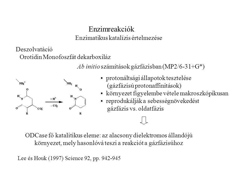 Enzimreakciók Enzimatikus katalízis értelmezése Lee és Houk (1997) Science 92, pp.