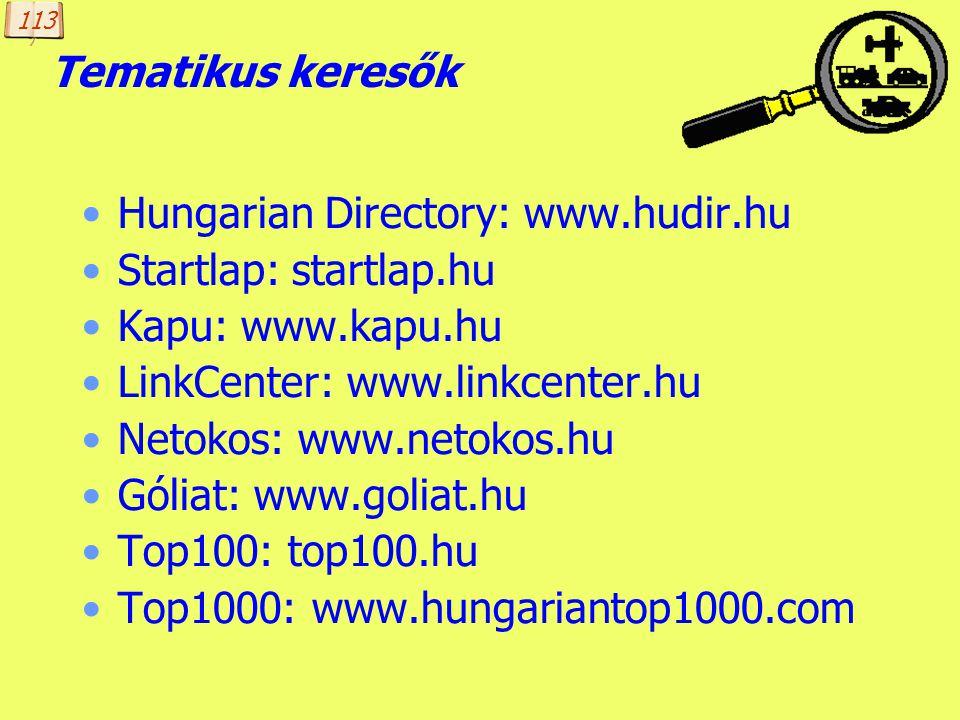 Készítette: B. László Speciális (kulcsszavas) keresők könyvkereső: www.konyvkereso.hu cégkereső: www.eu-business.hu álláskereső: allas.ker.eso.hu hírk