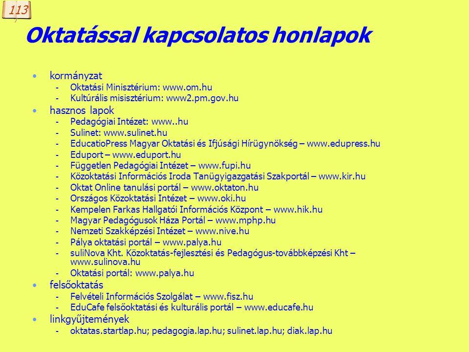 Készítette: B. László Tematikus keresők Hungarian Directory: www.hudir.hu Startlap: startlap.hu Kapu: www.kapu.hu LinkCenter: www.linkcenter.hu Netoko