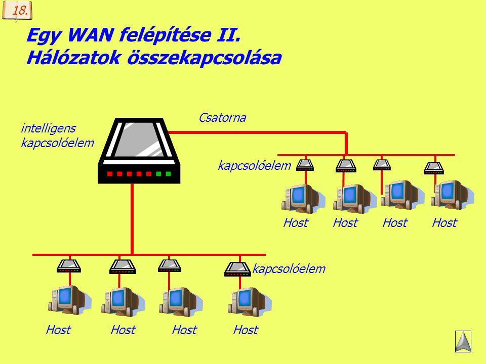 Készítette: B. László Egy WAN felépítése I. Host (gazda): a (TCP/IP alapú) hálózat kiszolgáló számítógépe, amely valamilyen szolgáltatást nyújt (pl. a
