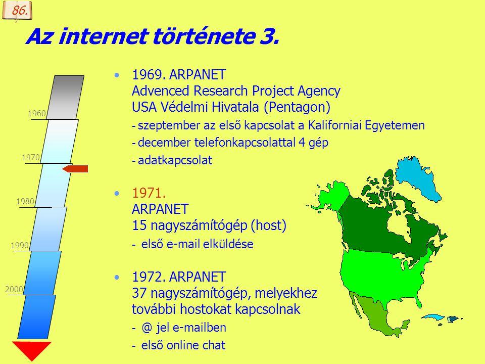 Készítette: B. László Az internet története 3. 1969. ARPANET Advenced Research Project Agency USA Védelmi Hivatala (Pentagon) - szeptember az első kap