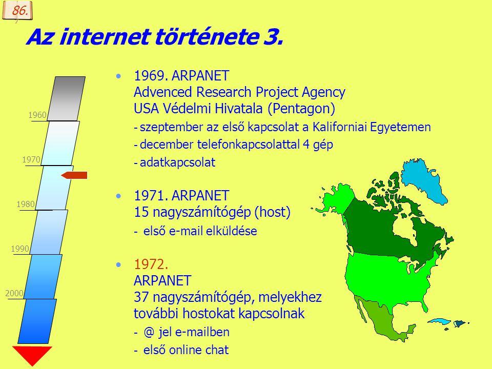 Készítette: B. László Az internet története 3. 1960 1970 1980 1990 2000 86. 1969. ARPANET Advenced Research Project Agency USA Védelmi Hivatala (Penta