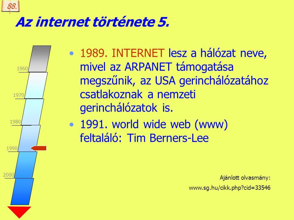 Készítette: B. László Az internet története 5. 1980-as évek közepe: domain nevek kialakulása Domain Naming System (Területi elnevezési rendszer) Által