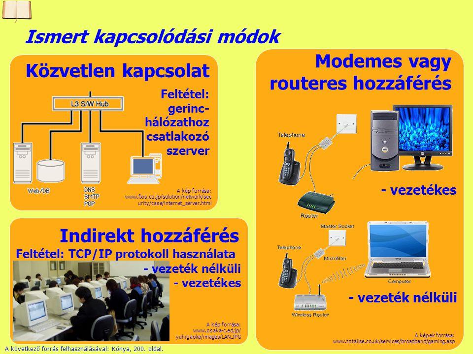 Készítette: B. László Címek az interneten Számítógépek egyértelmű azonosítása IP (Internet Protocol) - 4 darab 1 byte-os szám (0-255) pontokkal elvála