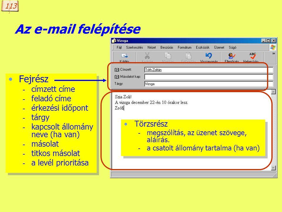 Készítette: B. László E-mail cím Az e-mail címnek tartalmaznia kell - a célgép címét (domain név), és - a címzett felhasználó adott gépen érvényes fel