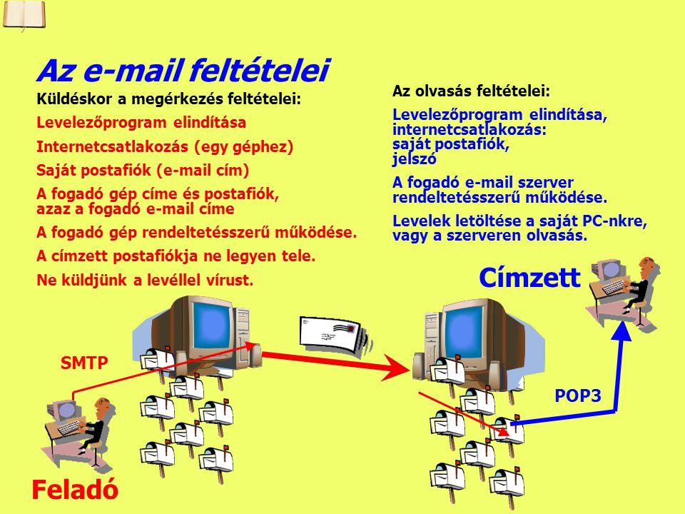 Készítette: B. László Prokollok az elektronikus levelezéshez Kimenő (elküldött) levelek kezelése: - SMTP (Simple Mail Transfer Protocol): az internete