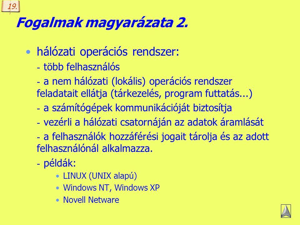 Készítette: B. László Fogalmak magyarázata 1. protokoll (protocol) - a kommunikációs szabványok szoftverszintű leírását tartalmazó eljárásgyűjtemény,