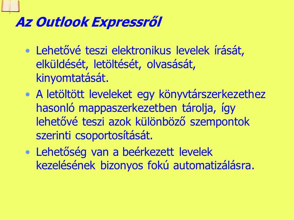 Készítette: B. László Az általunk használt levelező program A Microsoft cég Outlook Express 6 levelező programja Súgó/ Névjegy