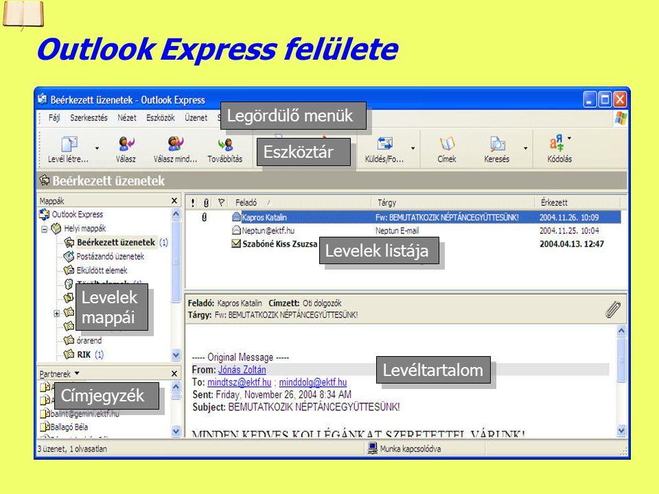Készítette: B. László Az Outlook Expressről Lehetővé teszi elektronikus levelek írását, elküldését, letöltését, olvasását, kinyomtatását. A letöltött