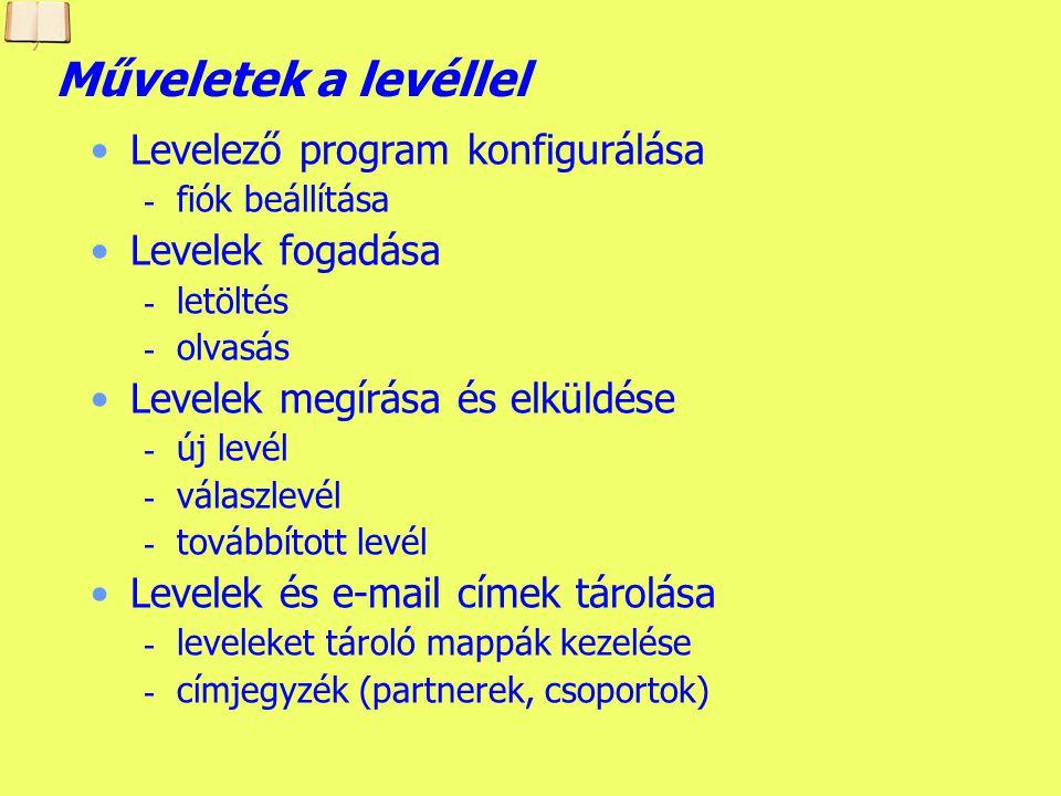 Készítette: B. László Outlook Express felülete Levéltartalom Levelek listája Levelek mappái Címjegyzék Eszköztár Legördülő menük