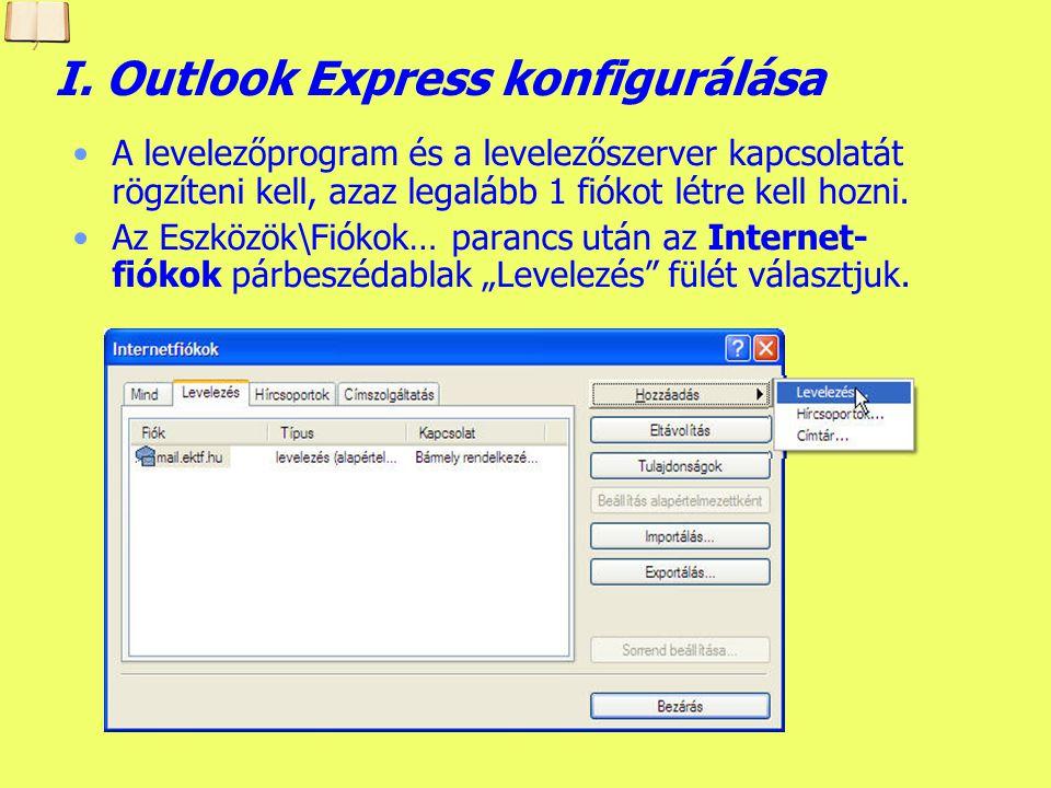 A program konfigurálása A konfigurálás csak az a levelezés kezdetén szükséges.