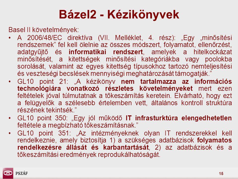 """15 Basel II követelmények: A 2006/48/EC direktíva (VII. Melléklet, 4. rész): """"Egy """"minősítési rendszernek"""" fel kell ölelnie az összes módszert, folyam"""