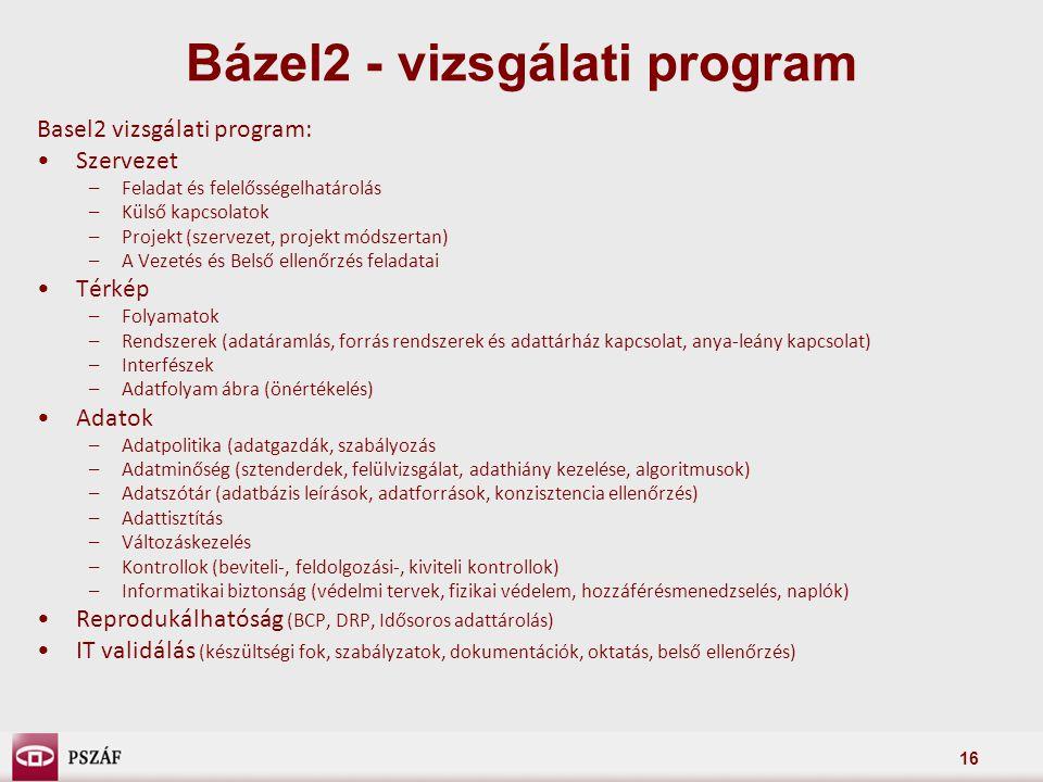 16 Basel2 vizsgálati program: Szervezet –Feladat és felelősségelhatárolás –Külső kapcsolatok –Projekt (szervezet, projekt módszertan) –A Vezetés és Be