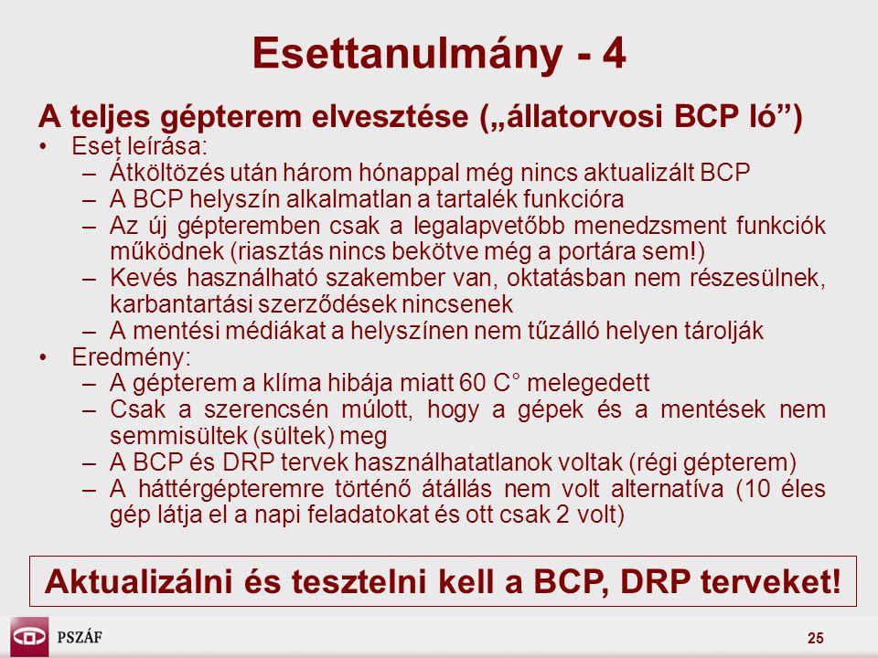 """25 A teljes gépterem elvesztése (""""állatorvosi BCP ló"""") Eset leírása: –Átköltözés után három hónappal még nincs aktualizált BCP –A BCP helyszín alkalma"""