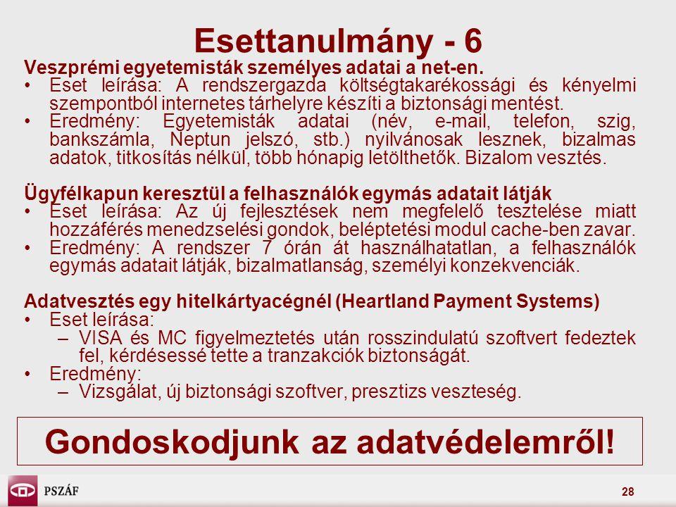 28 Veszprémi egyetemisták személyes adatai a net-en. Eset leírása: A rendszergazda költségtakarékossági és kényelmi szempontból internetes tárhelyre k