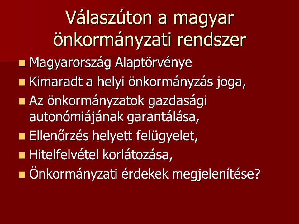 Válaszúton a magyar önkormányzati rendszer Magyarország Alaptörvénye Magyarország Alaptörvénye Kimaradt a helyi önkormányzás joga, Kimaradt a helyi önkormányzás joga, Az önkormányzatok gazdasági autonómiájának garantálása, Az önkormányzatok gazdasági autonómiájának garantálása, Ellenőrzés helyett felügyelet, Ellenőrzés helyett felügyelet, Hitelfelvétel korlátozása, Hitelfelvétel korlátozása, Önkormányzati érdekek megjelenítése.