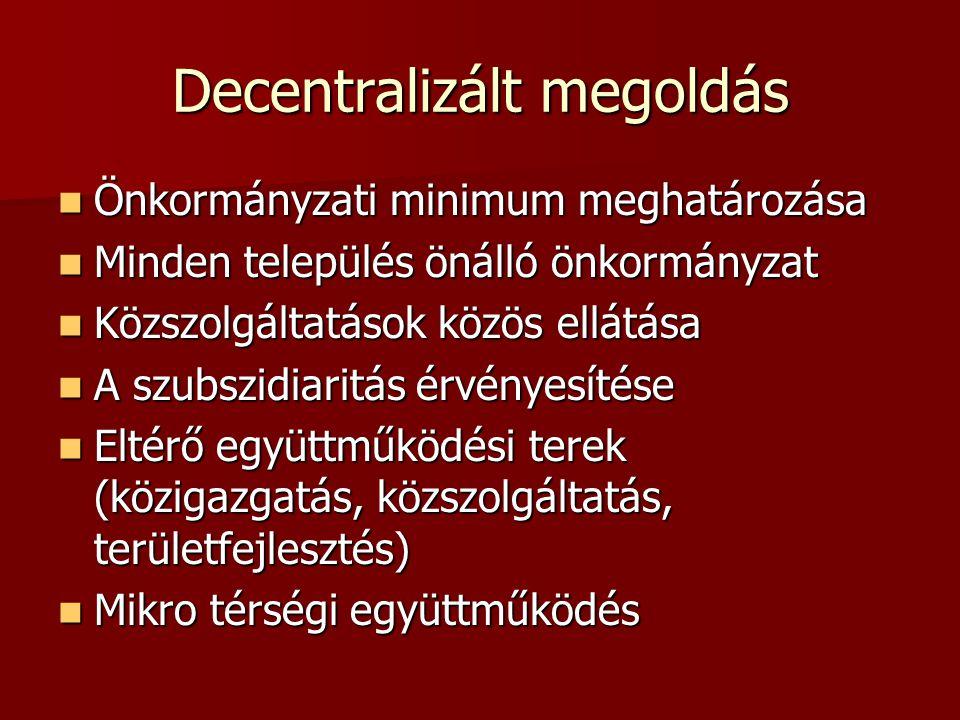 Decentralizált megoldás Önkormányzati minimum meghatározása Önkormányzati minimum meghatározása Minden település önálló önkormányzat Minden település önálló önkormányzat Közszolgáltatások közös ellátása Közszolgáltatások közös ellátása A szubszidiaritás érvényesítése A szubszidiaritás érvényesítése Eltérő együttműködési terek (közigazgatás, közszolgáltatás, területfejlesztés) Eltérő együttműködési terek (közigazgatás, közszolgáltatás, területfejlesztés) Mikro térségi együttműködés Mikro térségi együttműködés