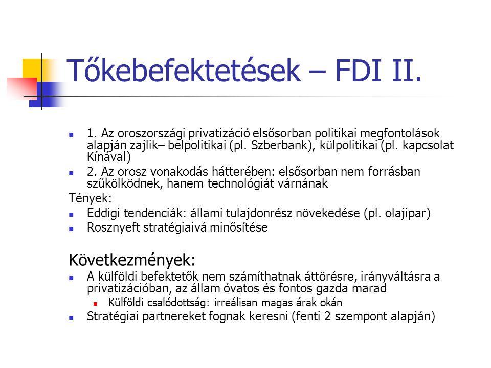 Tőkebefektetések – FDI II. 1. Az oroszországi privatizáció elsősorban politikai megfontolások alapján zajlik– belpolitikai (pl. Szberbank), külpolitik