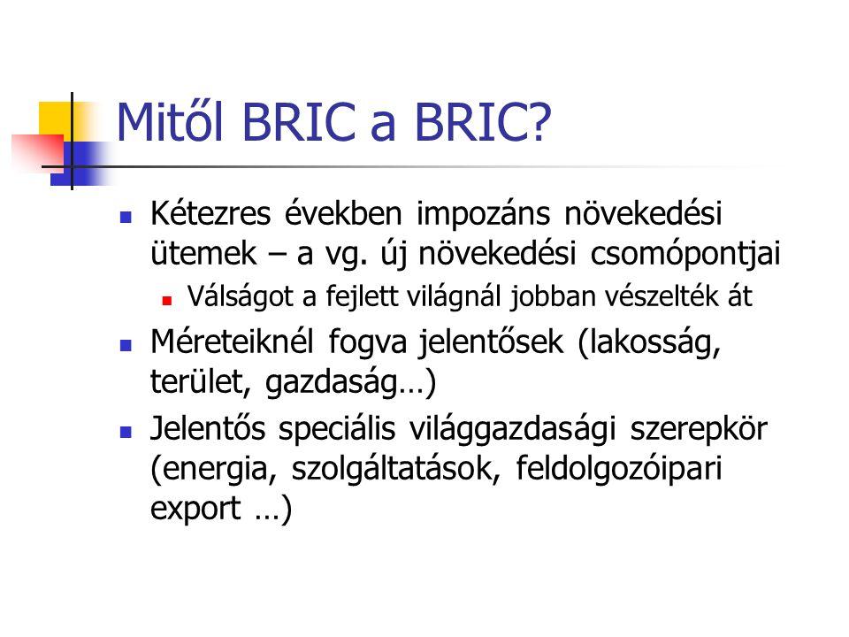 Mitől BRIC a BRIC? Kétezres években impozáns növekedési ütemek – a vg. új növekedési csomópontjai Válságot a fejlett világnál jobban vészelték át Mére