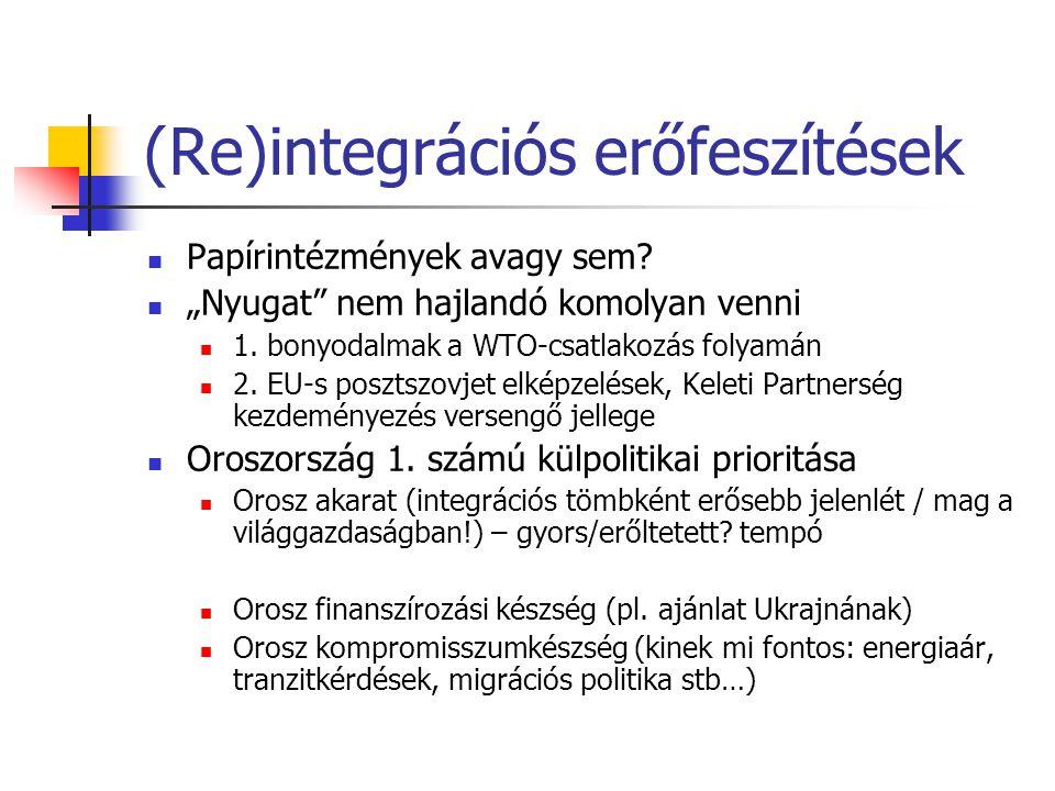 """(Re)integrációs erőfeszítések Papírintézmények avagy sem? """"Nyugat"""" nem hajlandó komolyan venni 1. bonyodalmak a WTO-csatlakozás folyamán 2. EU-s poszt"""