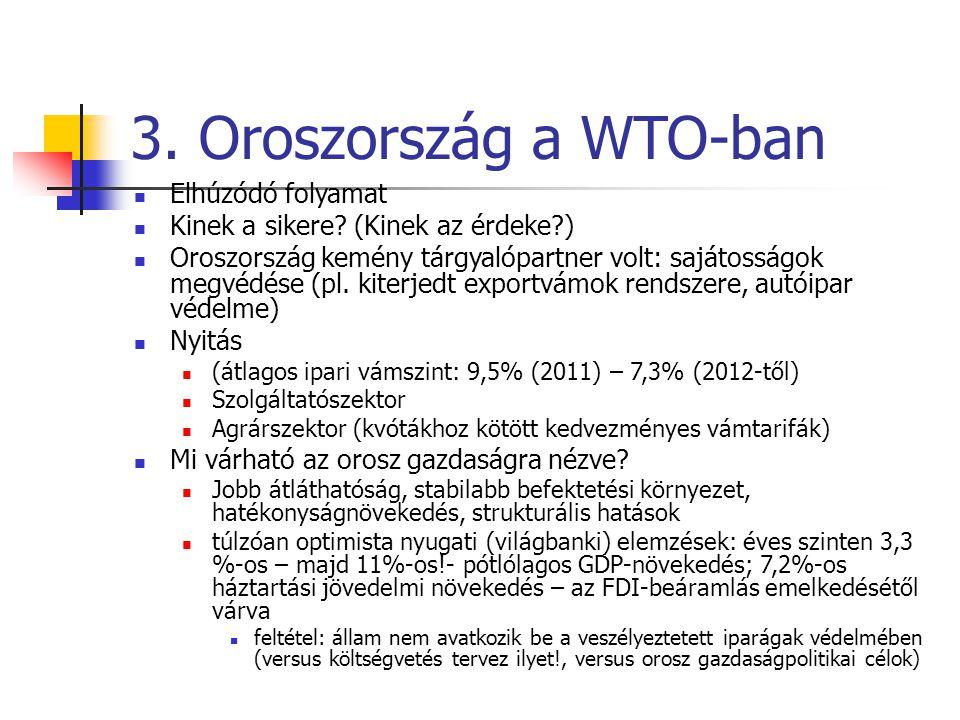 3. Oroszország a WTO-ban Elhúzódó folyamat Kinek a sikere? (Kinek az érdeke?) Oroszország kemény tárgyalópartner volt: sajátosságok megvédése (pl. kit
