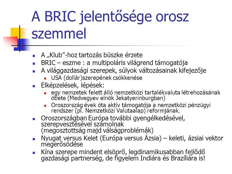 Oroszország és a nemzetközi intézmények ENSZ – megörökölt szerep IMF, Világbank Európa Tanács tagja G7- G8 - G20 OECD-tagság iránti kérelem (cél: 2014) APEC (Ázsiai Csendes –óceáni Gazdasági Együttműködési Szervezet) FÁK-on belüli szervezetek (gazdasági, biztonsági) Sanghaji Együttműködés Szervezete BRIC