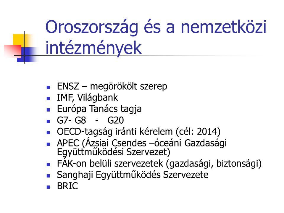 Oroszország és a nemzetközi intézmények ENSZ – megörökölt szerep IMF, Világbank Európa Tanács tagja G7- G8 - G20 OECD-tagság iránti kérelem (cél: 2014
