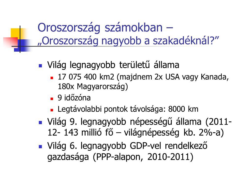 """Oroszország számokban – """"Oroszország nagyobb a szakadéknál?"""" Világ legnagyobb területű állama 17 075 400 km2 (majdnem 2x USA vagy Kanada, 180x Magyaro"""