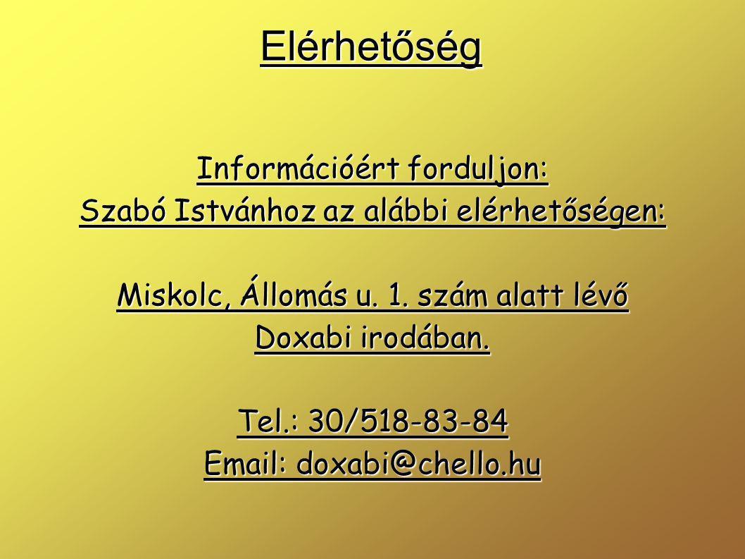 Elérhetőség Információért forduljon: Szabó Istvánhoz az alábbi elérhetőségen: Miskolc, Állomás u.