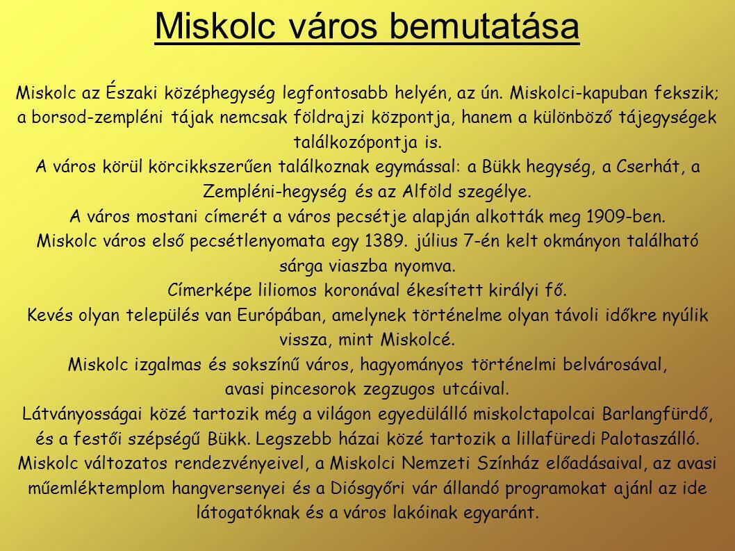 Miskolc város bemutatása Miskolc az Északi középhegység legfontosabb helyén, az ún.