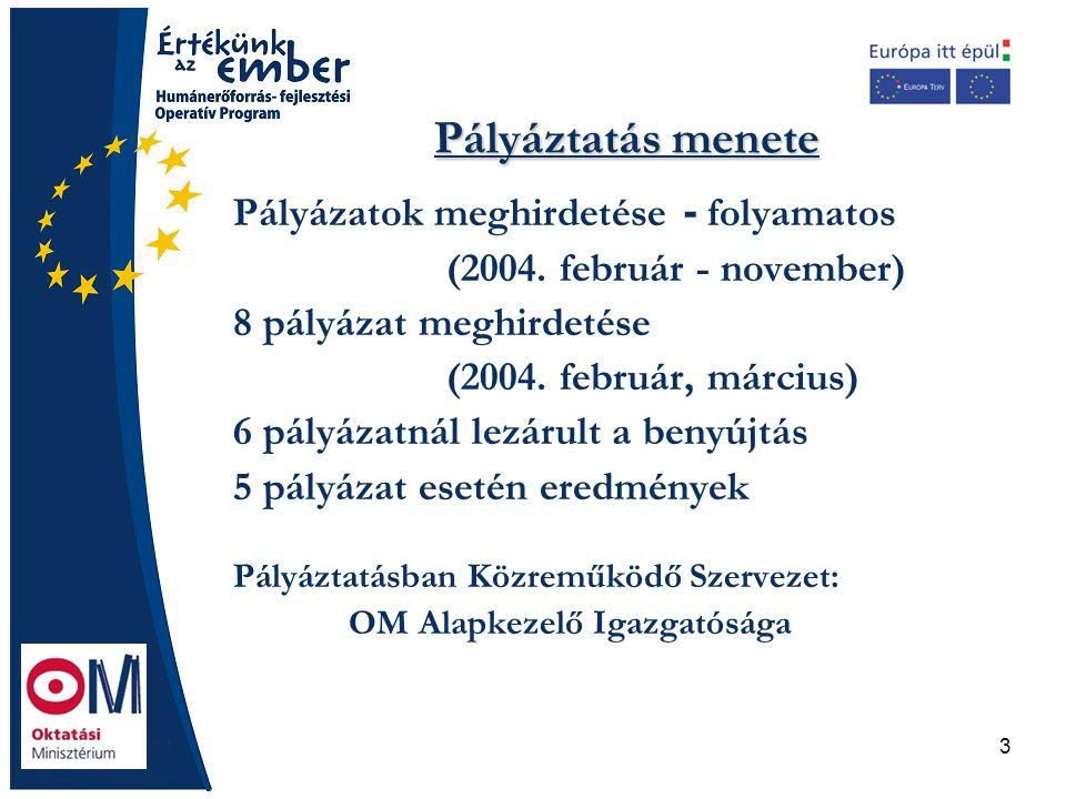 3 Pályáztatás menete Pályázatok meghirdetése - folyamatos (2004. február - november) 8 pályázat meghirdetése (2004. február, március) 6 pályázatnál le