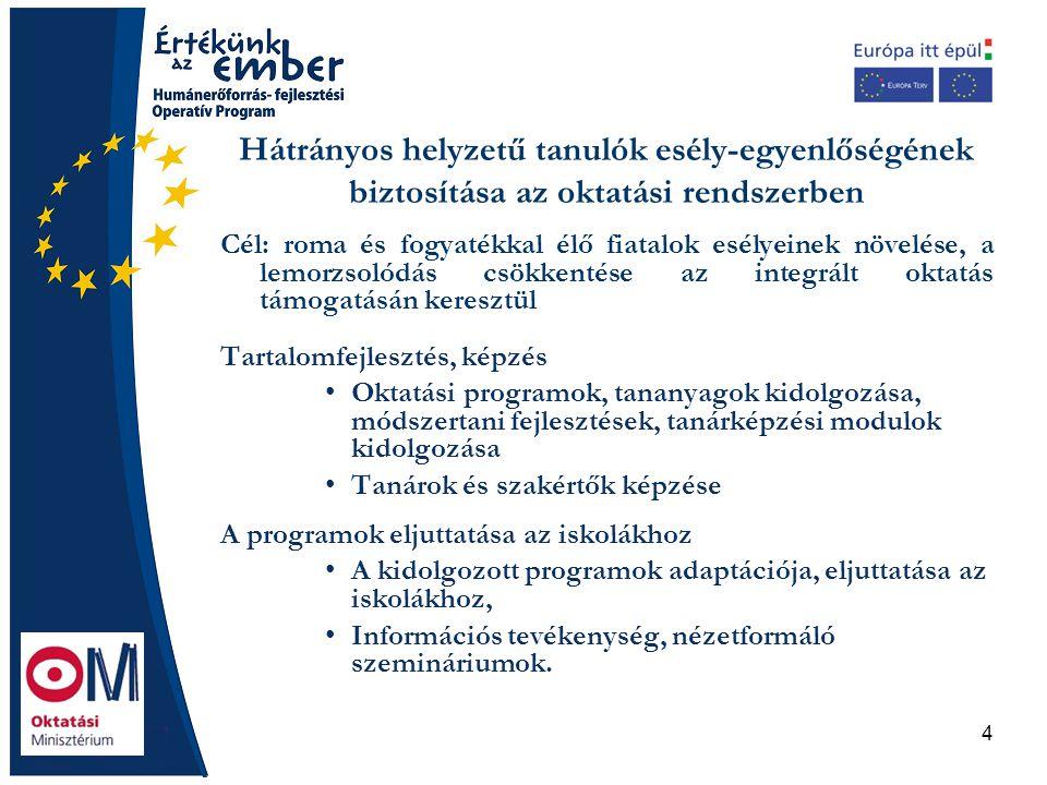 4 Hátrányos helyzetű tanulók esély-egyenlőségének biztosítása az oktatási rendszerben Cél: roma és fogyatékkal élő fiatalok esélyeinek növelése, a lem