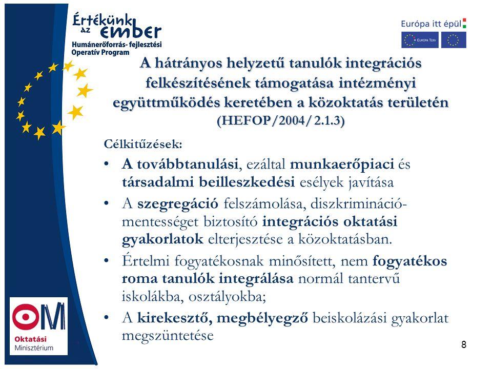 8 A hátrányos helyzetű tanulók integrációs felkészítésének támogatása intézményi együttműködés keretében a közoktatás területén (HEFOP/2004/ 2.1.3) Cé