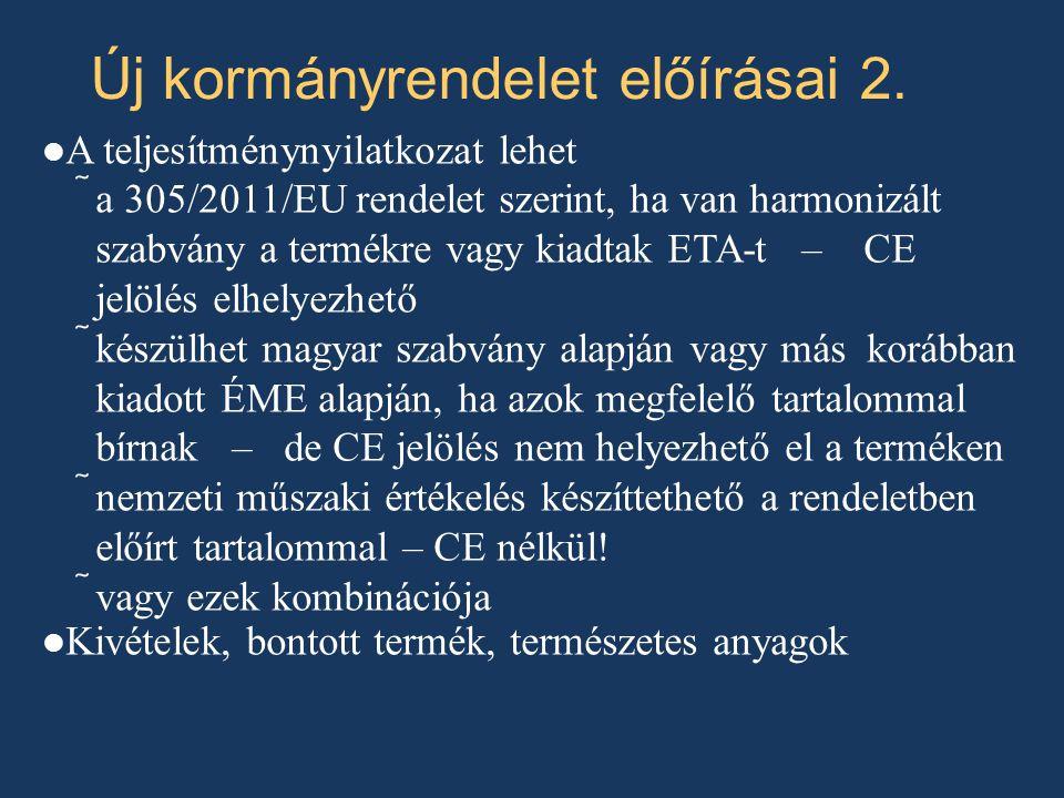 A teljesítménynyilatkozat lehet  a 305/2011/EU rendelet szerint, ha van harmonizált szabvány a termékre vagy kiadtak ETA-t – CE jelölés elhelyezhető