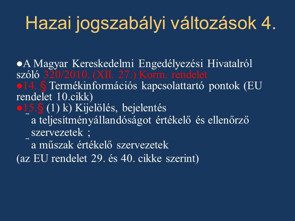 A Magyar Kereskedelmi Engedélyezési Hivatalról szóló 320/2010. (XII. 27.) Korm. rendelet 14. § Termékinformációs kapcsolattartó pontok (EU rendelet 10