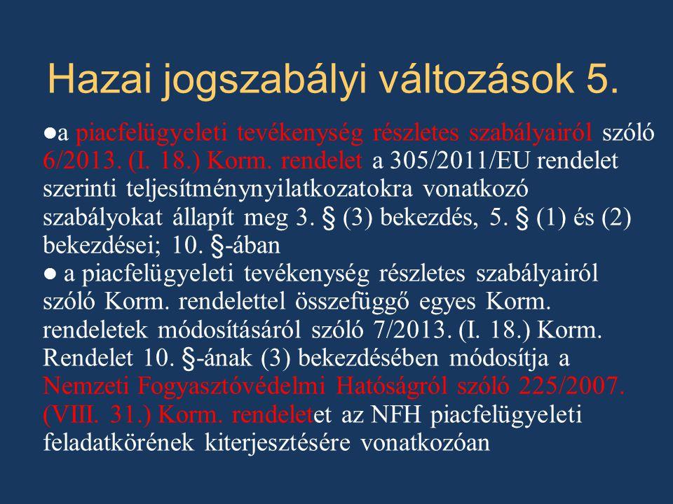 a piacfelügyeleti tevékenység részletes szabályairól szóló 6/2013. (I. 18.) Korm. rendelet a 305/2011/EU rendelet szerinti teljesítménynyilatkozatokra