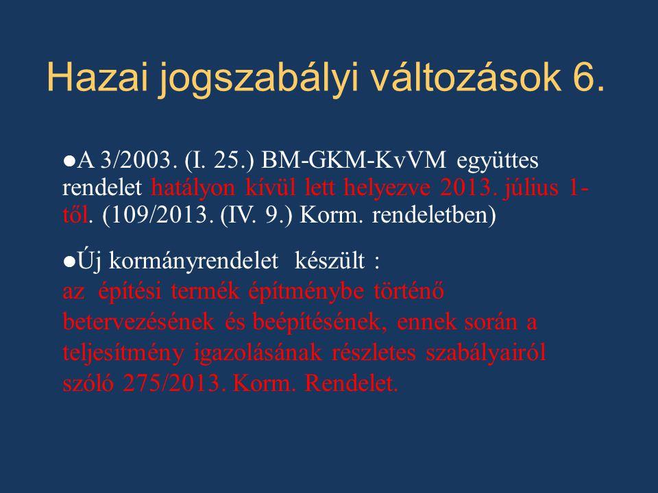 Új kormányrendelet előírásai 1.Építési termék épületszerkezet (csak kivételesen: pl.
