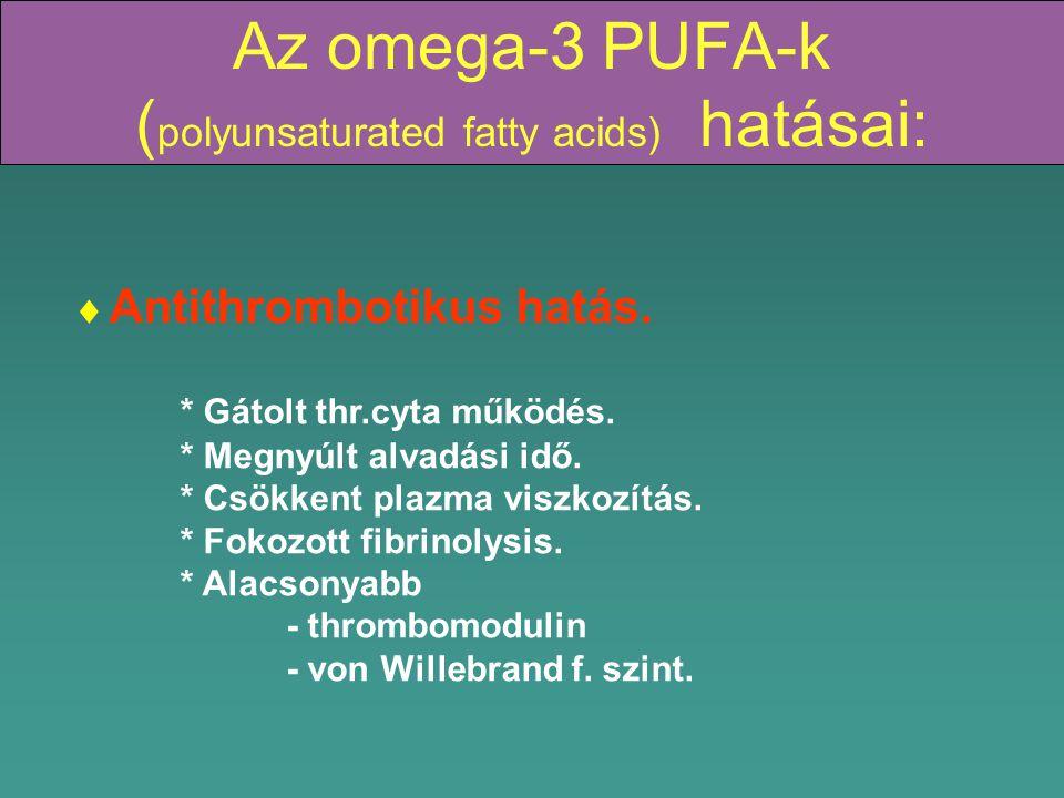 Az omega-3 PUFA-k ( polyunsaturated fatty acids) hatásai:  Antithrombotikus hatás.