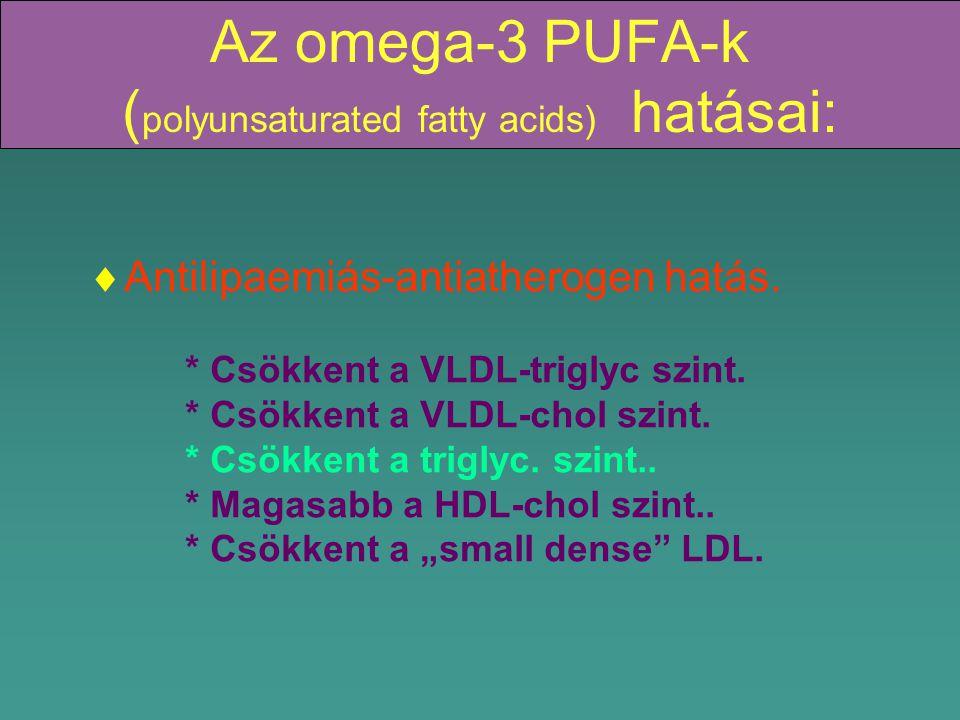 Az omega-3 PUFA-k ( polyunsaturated fatty acids) hatásai:  Antilipaemiás-antiatherogen hatás.