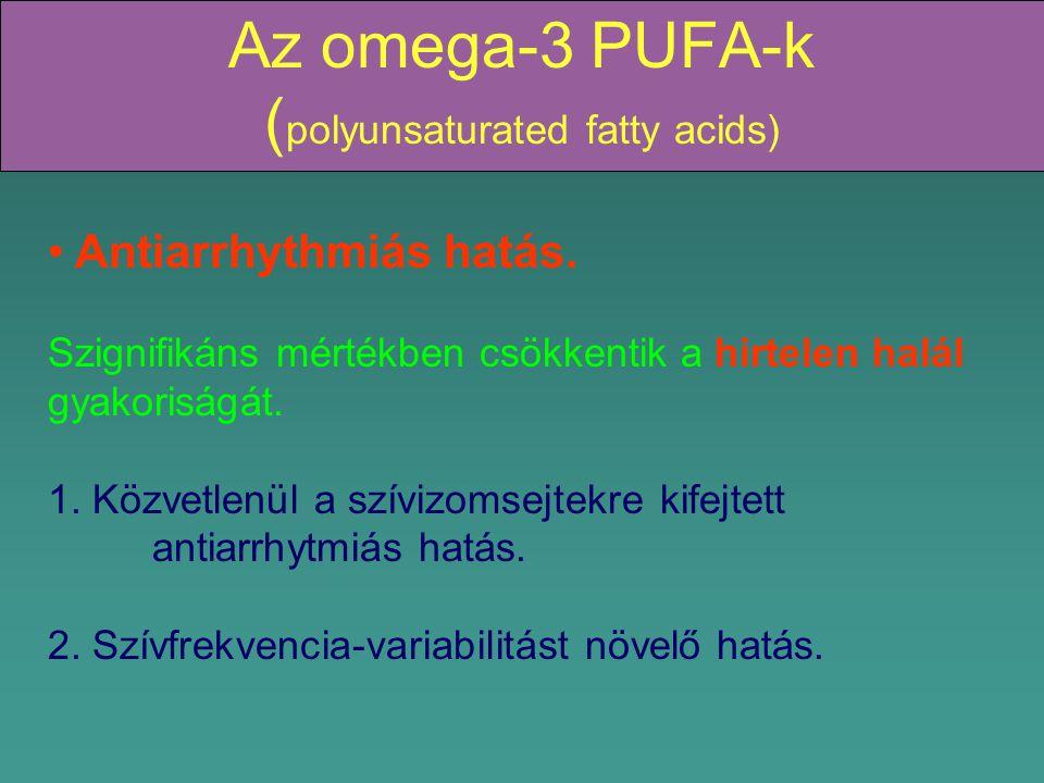 Az omega-3 PUFA-k ( polyunsaturated fatty acids) Antiarrhythmiás hatás.